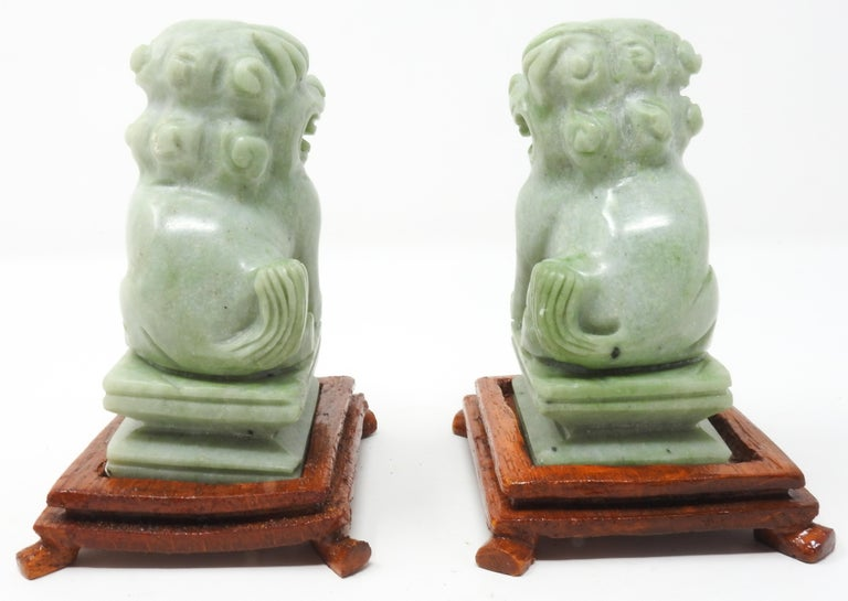 Jadeite Guardian Foo Dogs, Mid-20th Century In Fair Condition For Sale In Cookeville, TN