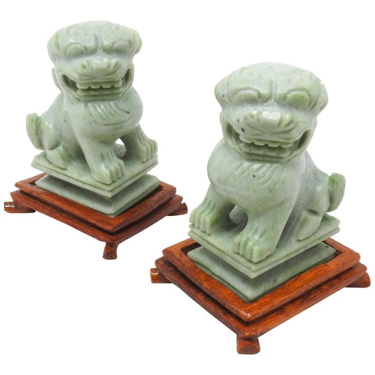 Jadeite Guardian Foo Dogs, Mid-20th Century For Sale
