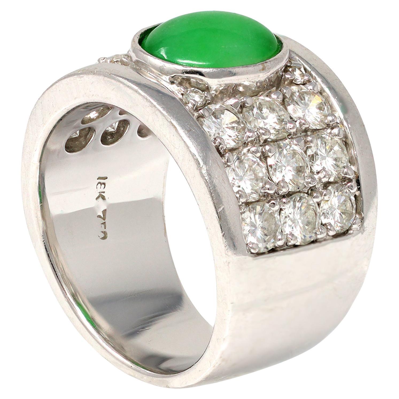 Jadeite Jade and Diamond Wide Band Ring in 18 Karat White Gold
