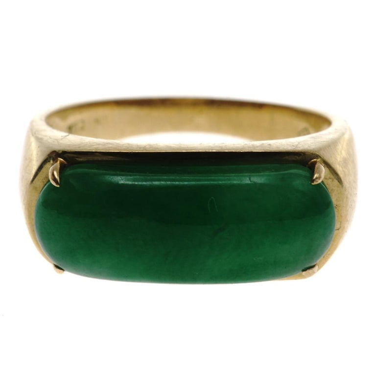 Jadeite Jade and Gold Ring For Sale
