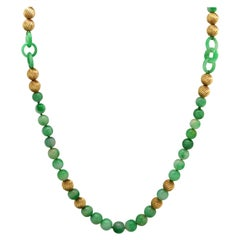 Jadeite Jade and Yellow Gold Bead Necklace