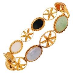 Jadeite Jade Aqua Black Onyx Vintage Bracelet in 14 Karat Yellow Gold