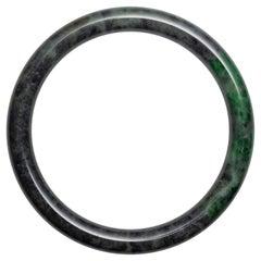 Jadeite Jade Bangle Gray & Emerald Green Certified Untreated