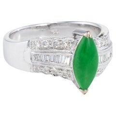 Jadeite Jade Diamond Cocktail Ring Estate 18k White Gold Fine Vintage Jewelry