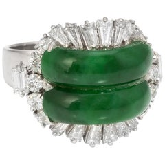 Jadeite Jade Diamond Cocktail Ring Vintage 14 Karat Gold Estate Fine Jewelry