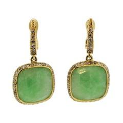 Jadeite Jade Diamond Gold Drop Earrings