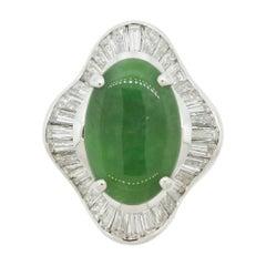 Jadeite Jade Diamond Platinum Ballerina Cocktail Ring