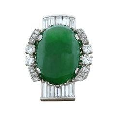 Jadeite Jade Diamond Platinum Cocktail Ring