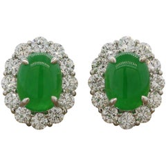 Jadeite Jade Diamond Platinum Earrings, GIA Certified