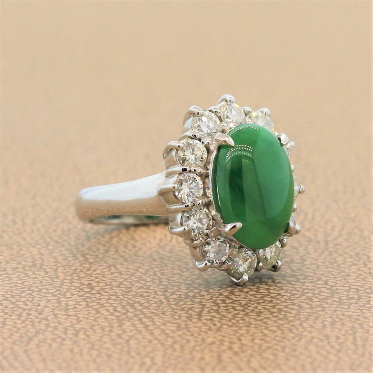 Jadeite Jade Diamond Platinum Ring, GIA Certified In New Condition For Sale In Beverly Hills, CA