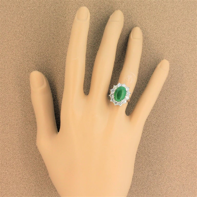 Jadeite Jade Diamond Platinum Ring, GIA Certified For Sale 2