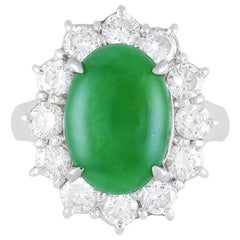 Jadeite Jade Diamond Platinum Ring, GIA Certified