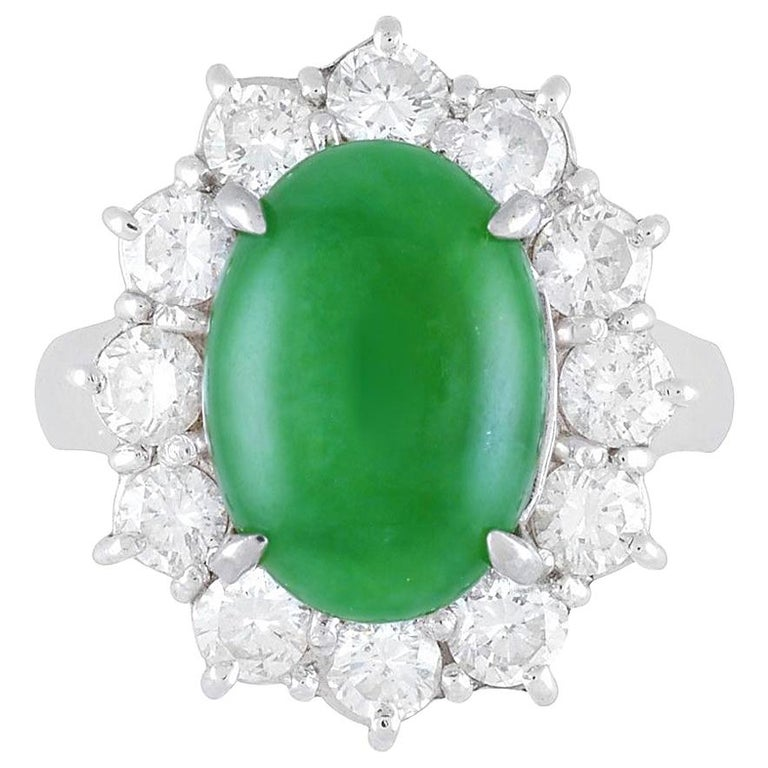 Jadeite Jade Diamond Platinum Ring, GIA Certified For Sale