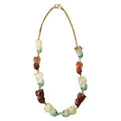 Jadeite Jade High-Karat Gold Fish Necklace