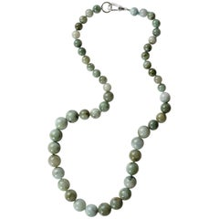 Jadeite Jade Necklace Mottled Grayish Green Certified Untreated