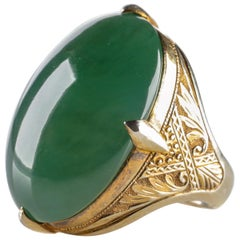 Jadeite Jade Ring of Exceedingly Rare Quality, Color and Size Certified Untreate