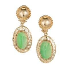 Art Deco Jadeite Jade Rose Gold Clip Post Dangle Earrings