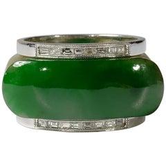 Jadeite Jade Saddle Ring GIA Certified Untreated