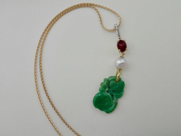 Women's or Men's Jadeite Ruby Akoya Pearl Diamond Pendant For Sale