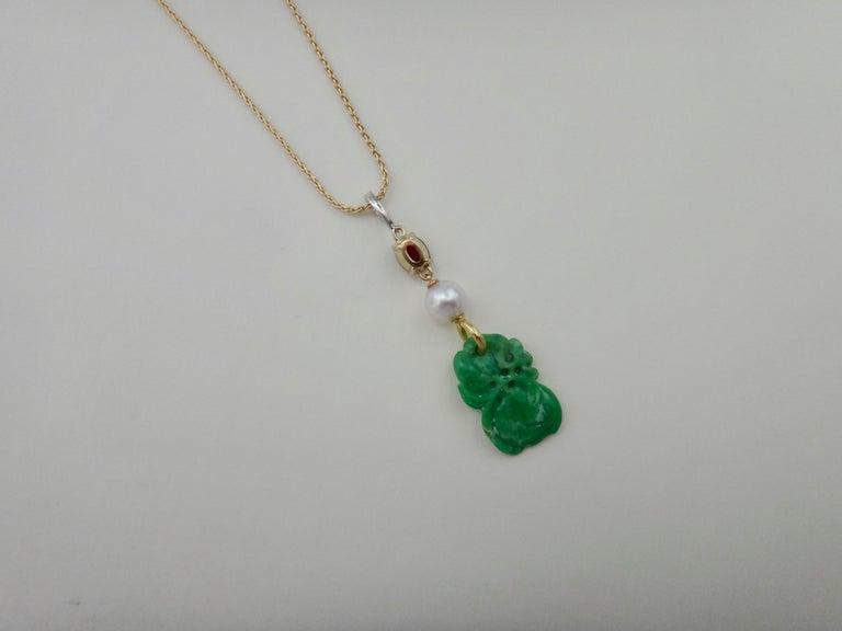 Jadeite Ruby Akoya Pearl Diamond Pendant For Sale 1