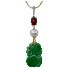 Jadeite Ruby Akoya Pearl Diamond Pendant