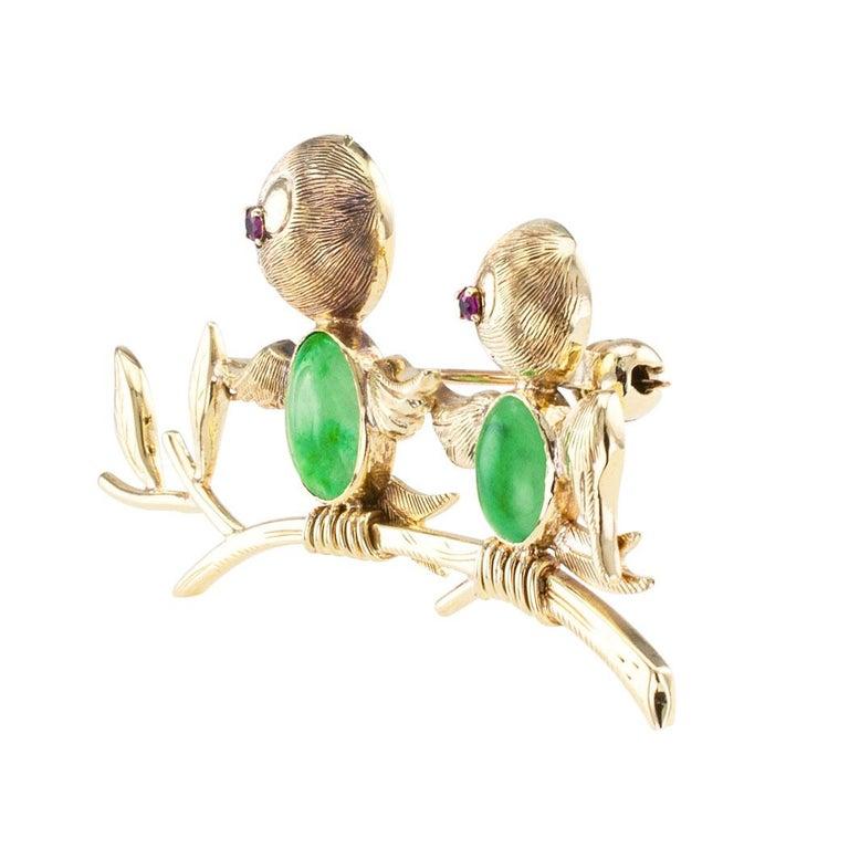 Modern Jadeite Ruby Gold Bird Brooch For Sale