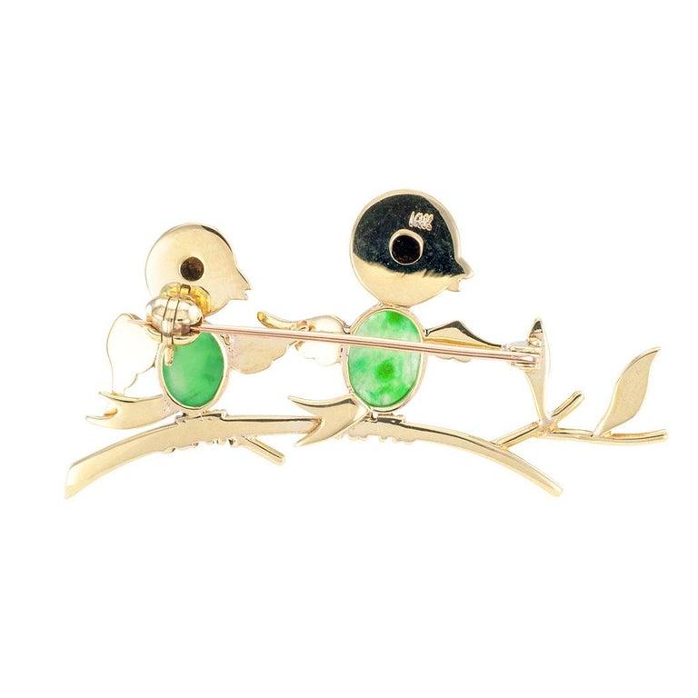 Women's Jadeite Ruby Gold Bird Brooch For Sale