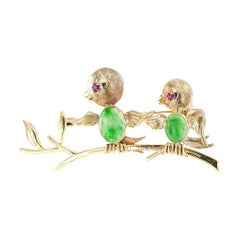 Jadeite Ruby Gold Bird Brooch