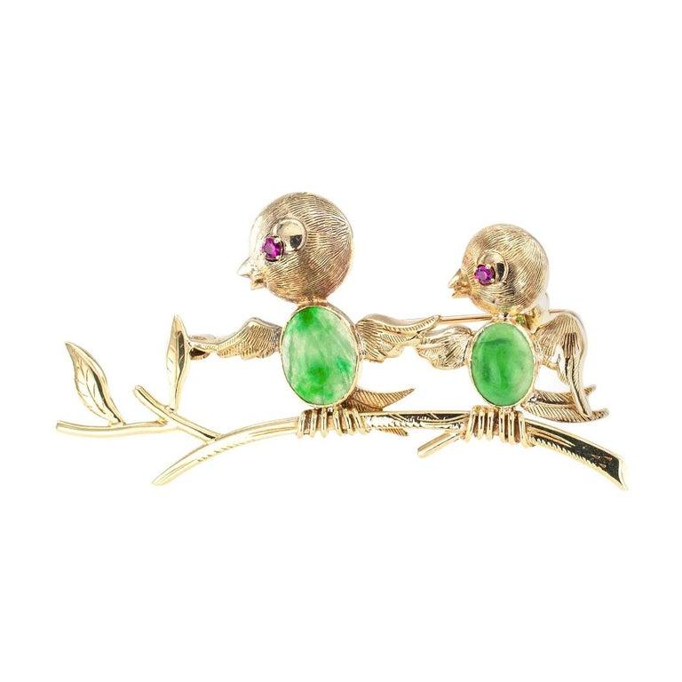 Jadeite Ruby Gold Bird Brooch For Sale