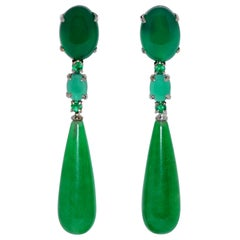 Jades, Agates and Emeralds Black Gold Chandelier Earrings