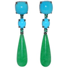 Jades, Turquoises and Emeralds Black Gold Chandelier Earrings