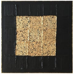 Painting J'adore 1 by Liora Textured Square Gold Abstract Canvas Contemporary