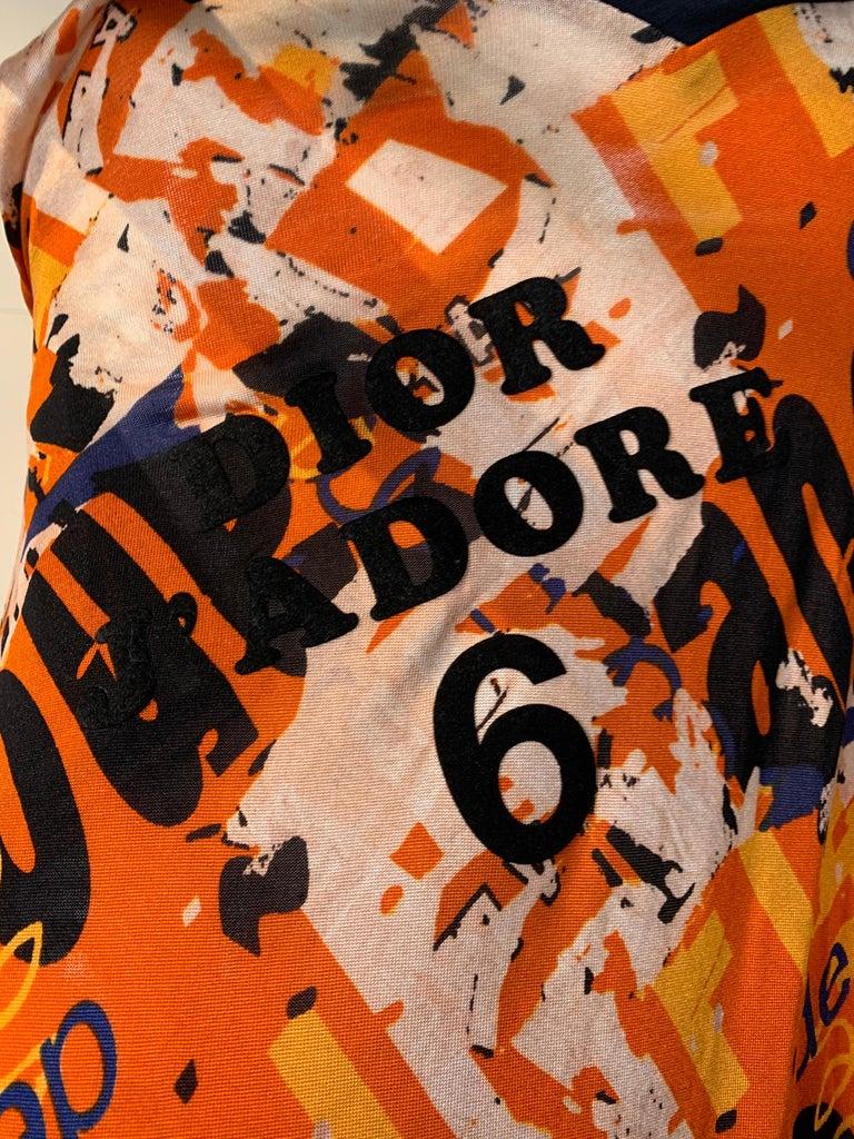J'Adore Christian Dior by John Galliano Orange Jersey Print Zip Skirt Size 6 For Sale 6