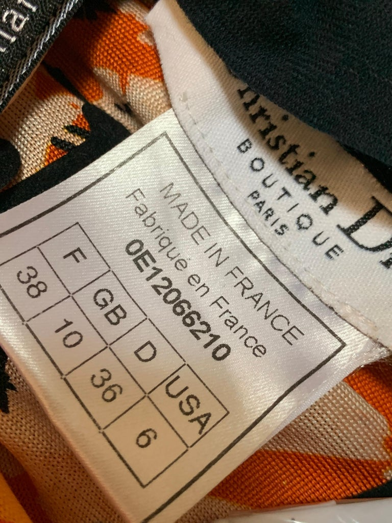 J'Adore Christian Dior by John Galliano Orange Jersey Print Zip Skirt Size 6 For Sale 8