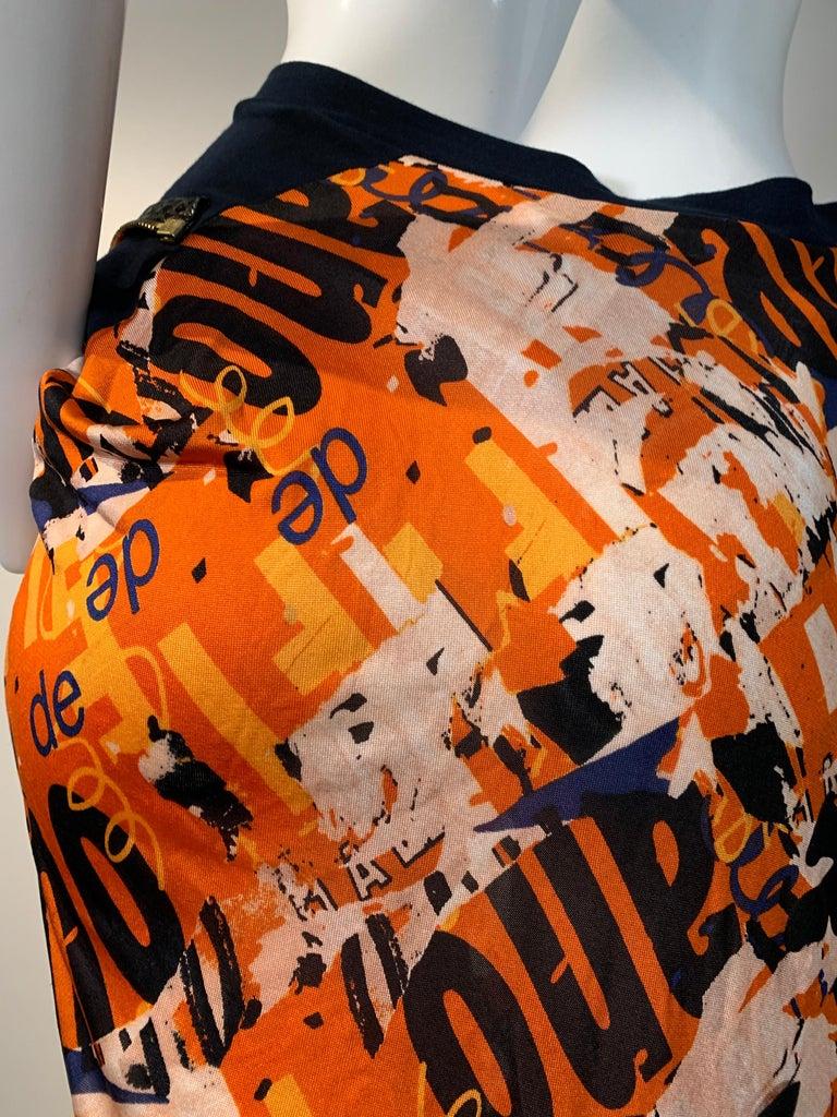 J'Adore Christian Dior by John Galliano Orange Jersey Print Zip Skirt Size 6 For Sale 1
