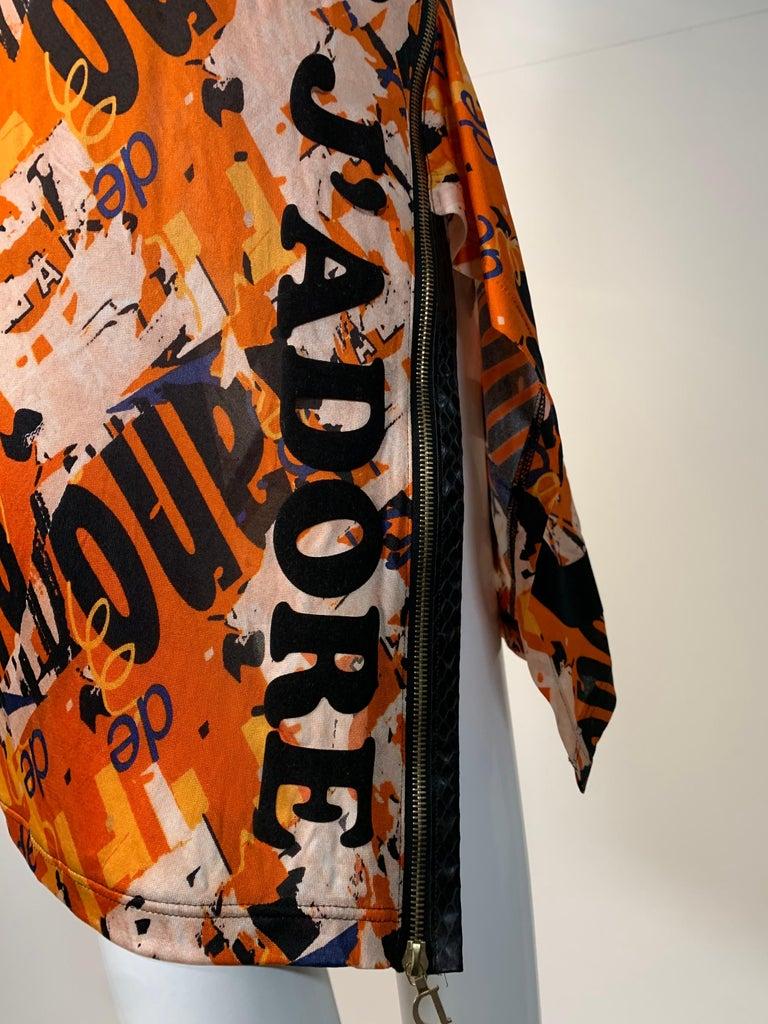 J'Adore Christian Dior by John Galliano Orange Jersey Print Zip Skirt Size 6 For Sale 2