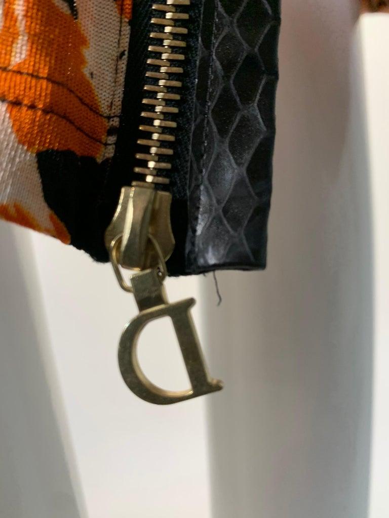 J'Adore Christian Dior by John Galliano Orange Jersey Print Zip Skirt Size 6 For Sale 3