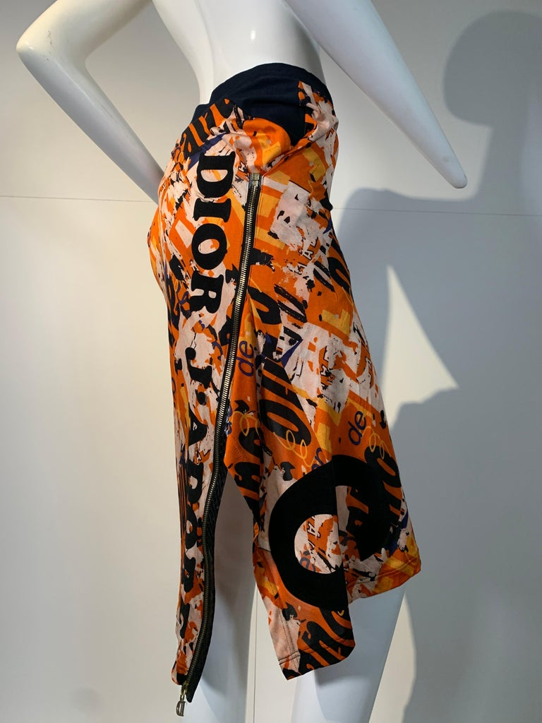 J'Adore Christian Dior by John Galliano Orange Jersey Print Zip Skirt Size 6 For Sale 4