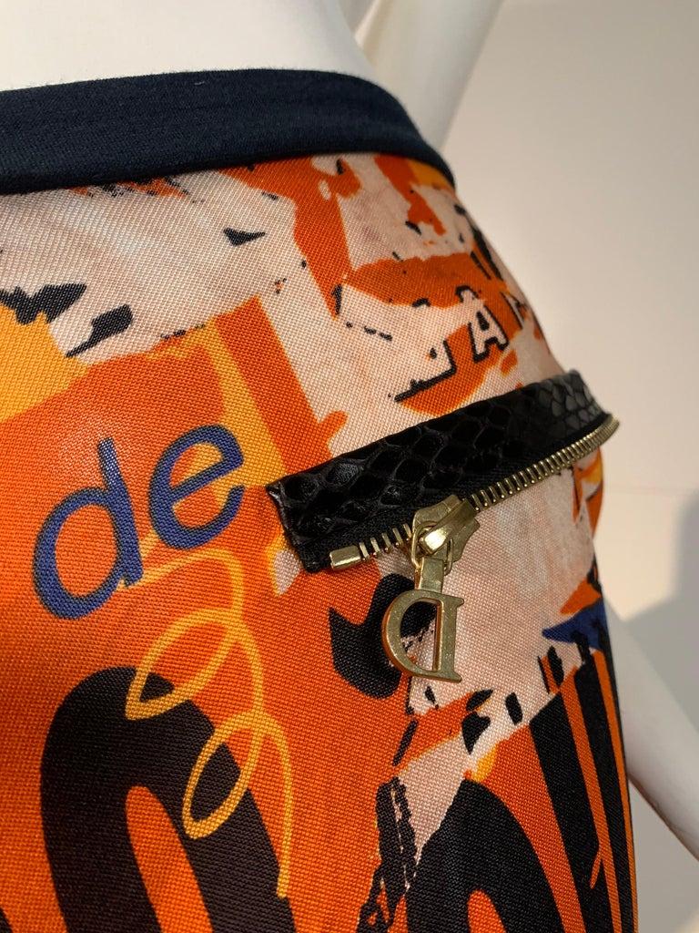 J'Adore Christian Dior by John Galliano Orange Jersey Print Zip Skirt Size 6 For Sale 5