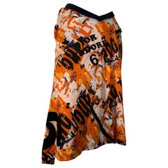 J'Adore Christian Dior by John Galliano Orange Jersey Print Zip Skirt Size 6
