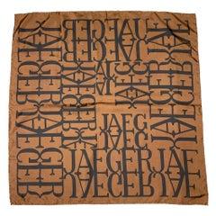 JAEGER Brown & Black Print Silk Scarf