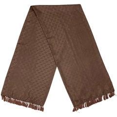 JAEGER Brown Silk Fringe Scarf