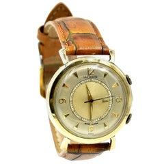 Jaeger Le-Coultre 10 Karat Yellow Gold Memovox Alarm Vintage Watch