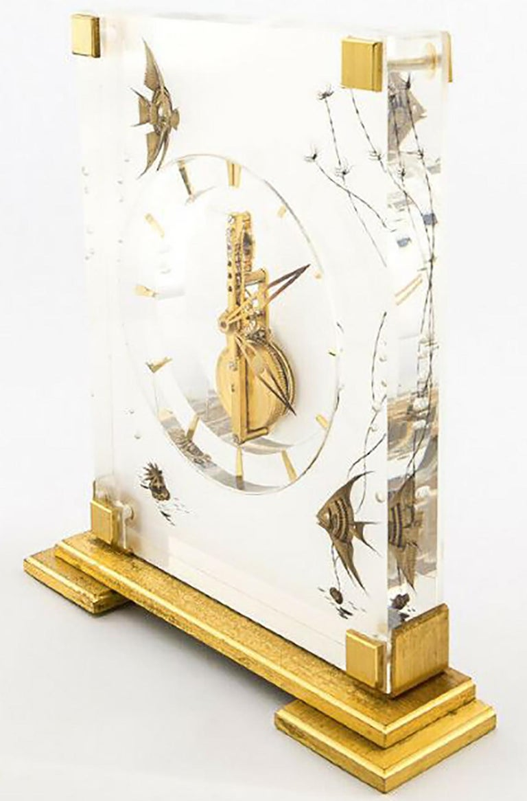 Gilt Jaeger-LeCoultre Marina Angel Fish Desk Clock, 1960s For Sale
