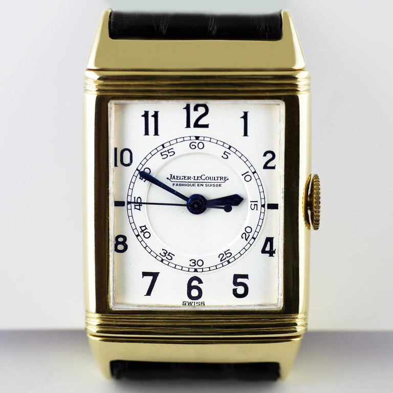 A fine and rare Art Deco Jaeger Le Coultre Reverso wristwatch made in 1938.  The Reverso wristwatch was invented after a chance remark by Polo players in India during the colonial period bemoaning that the glass on their watches was being smashed