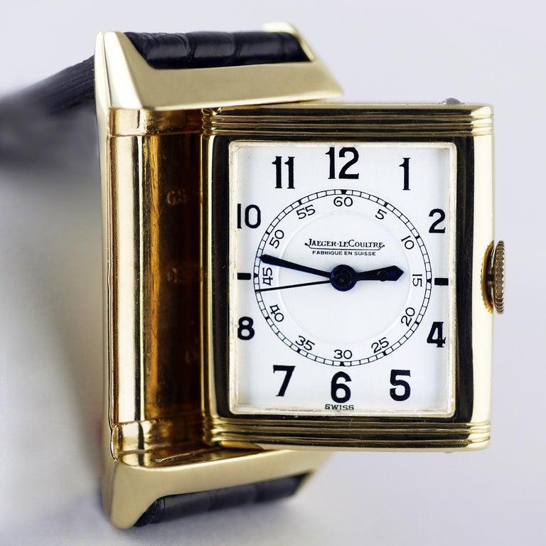 Jaeger Le Coultre Reverso, Art Deco, 9 Carat Gold, 1938 For Sale 2