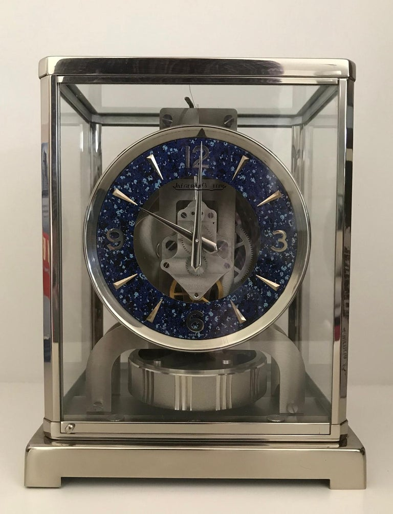 Swiss Jaeger-LeCoultre Rhodium-Plated Royale Atmos Clock, circa 1974 For Sale