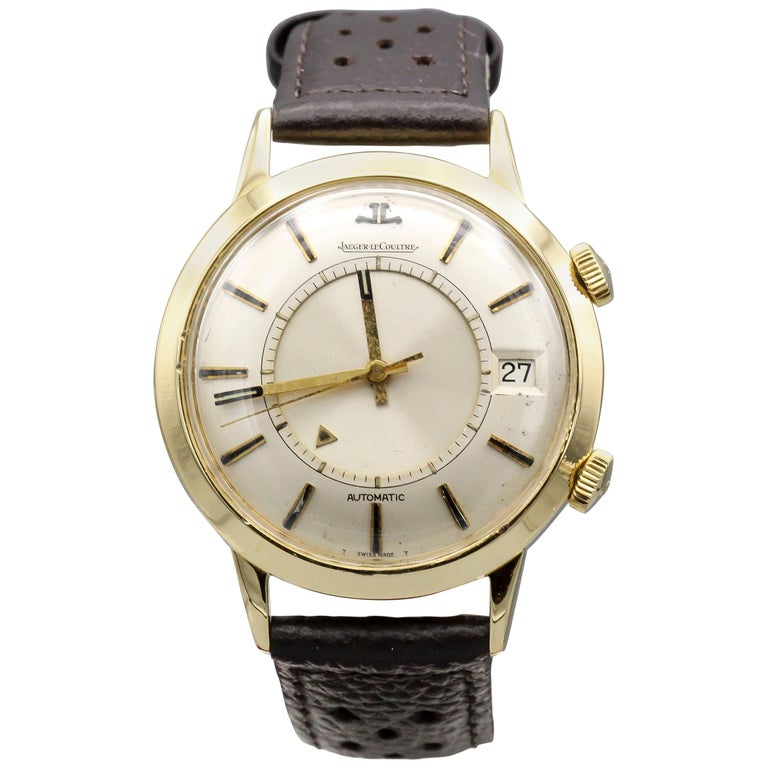 Jaeger-LeCoultre 18 Karat Gold Vintage Memovox Wristwatch For Sale
