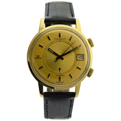 Jaeger LeCoultre 18 Karat, New Condition Full Size Memovox circa 1960s-1970s