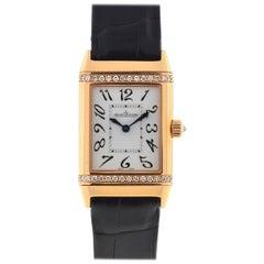 Jaeger Lecoultre 18 Karat Rose Gold Reverso Duetto Diamonds Watch